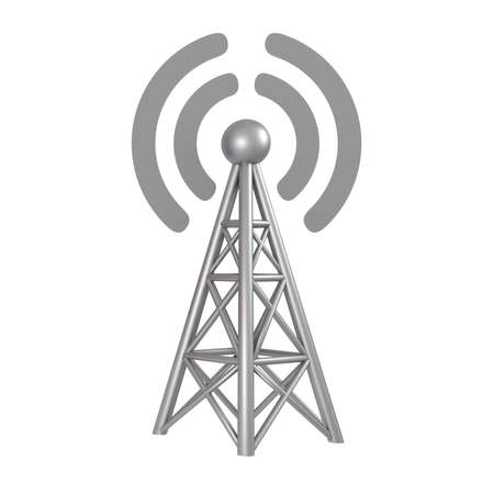 Station 3G, 4G, 5G, cellular high speed data connection. Business concept wireless mobile internet  with antenna transmitter communication. 3d rendering