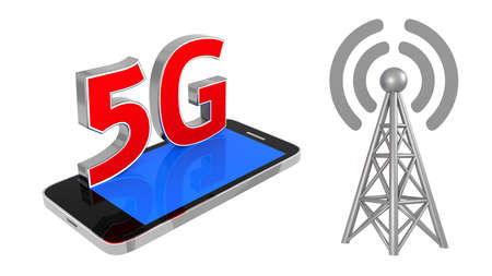 Station 5G cellular high speed data connection. Business concept wireless mobile internet 5th generation with antenna transmitter communication. 3d rendering Stockfoto