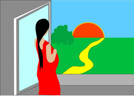 Pregnant woman looking out the window admiring the sunrise Stock Vector - 13029911