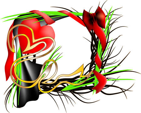 Beautiful festive frame with grass and heart Stock Vector - 13339084