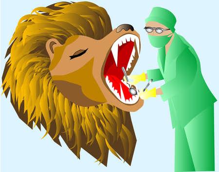 heals: Leo heals the teeth at the dentist Illustration