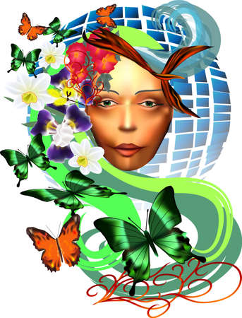 woman s face against the earth with butterflies and flowers Stock Vector - 13564482