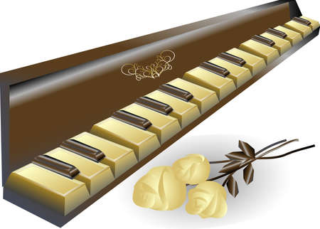 sculptures: white and dark chocolate packed in the form of a piano
