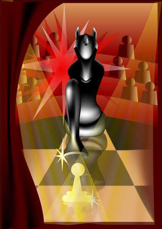 presencia: juego abstracto de ajedrez en el circo en la presencia de espectadores Vectores