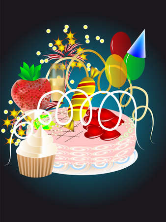 holiday decorations with balloons, cake, streamers, fireworks Illustration