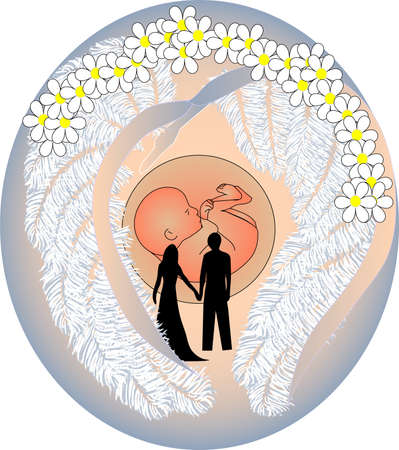 young couple with a future child in light of the sun Stock Vector - 13703662
