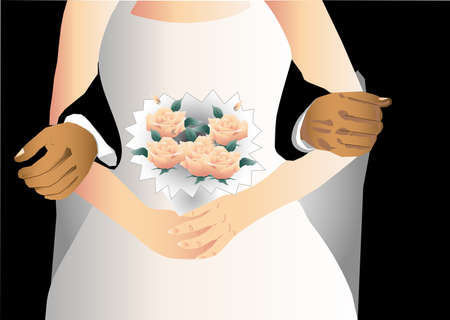 Bride with flowers with the two men accompanying Stock Vector - 13703661