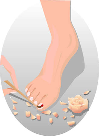foot care: hand paints the nail on the female foot