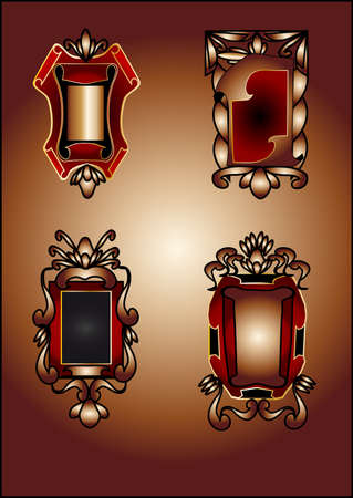 labels with decorative designs in warm colors Stock Vector - 13798029