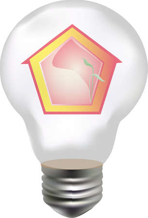 abstract house with plant in the bulb Stock Vector - 13821161