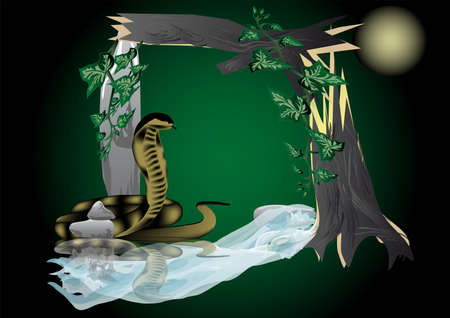 Frame night in the jungle. a snake under a broken tree near the water Vector