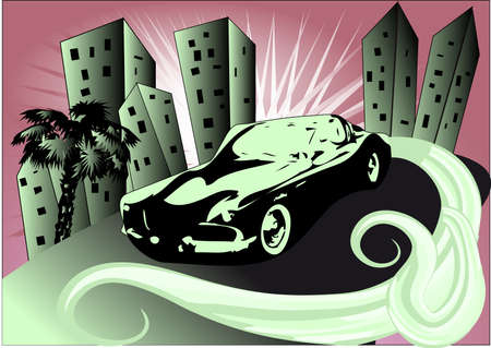 Retro car on the road of the south city Stock Vector - 14003190