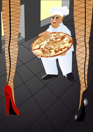 Chef offers to young women  hot pizza Vector
