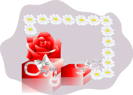 frame with a gift, roses and camomile Stock Vector - 14036177
