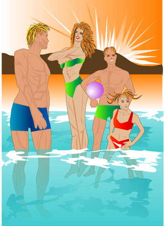 mom dad son and daughter in a transparent sea waves Vector