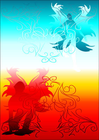 angel and a demon. abstract background symbolizing paradise and hell Illustration