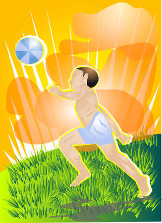 Boy running with the ball on the green grass Stock Vector - 14128347
