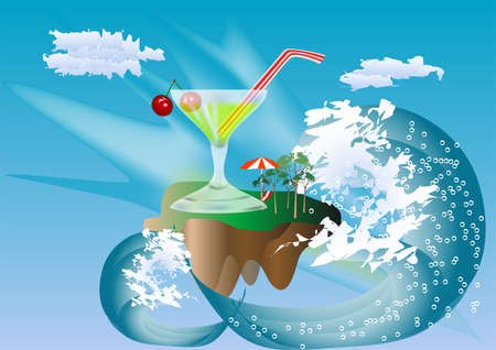 island, cocktail with cherries, wave, against the sky Vector