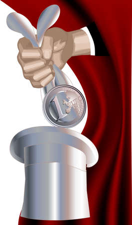fakir gets out of a hat cylinder euro for the ears Stock Vector - 14128352
