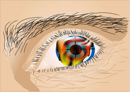 vision loss: reflection of the flame in the eyes of man Illustration