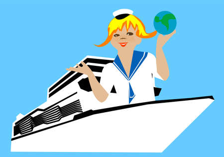 girl on a ship with a globe in his hand Vector