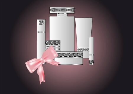toiletries decorated with jewels and a pink bow  Vector