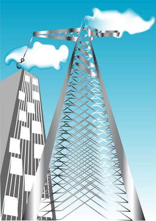 unfinished: de la gr�a en el fondo de un edificio sin terminar y el cielo azul