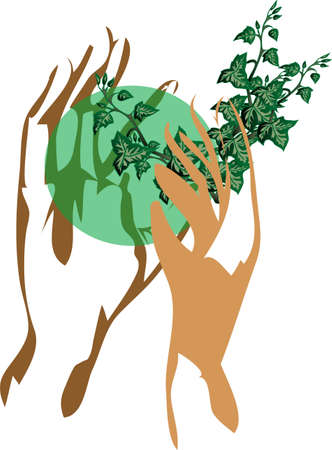 two hands holding the earth with green plants Vector