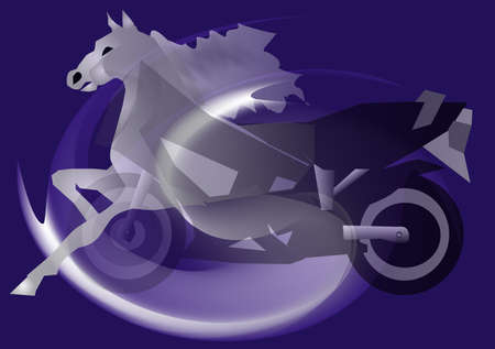 horsehair: abstract background of a motorcycle and a horse Illustration