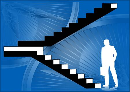 against the clock: silhouette of a businessman near the stairs against clock