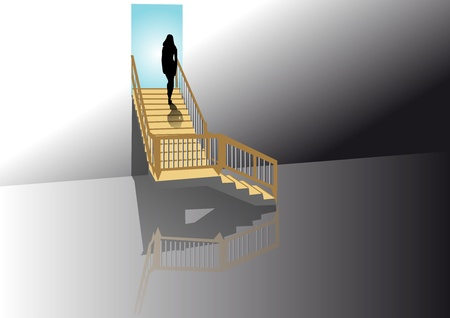 staircases: silhouette of a woman on the stairs Illustration