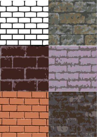 a set of six different brick texture Stock Vector - 14384695
