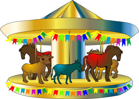funny colorful carousel isolated on white background Illustration