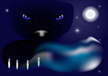 background with a panther against the night sky Stock Vector - 14384700