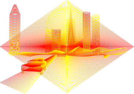 unrealistic: unrealistic background of the abstract yellow city