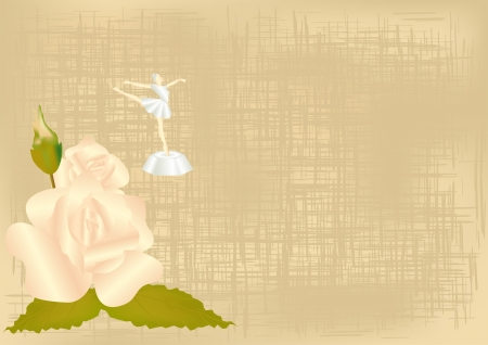 background with a rose and a statuette of a ballerina Vector