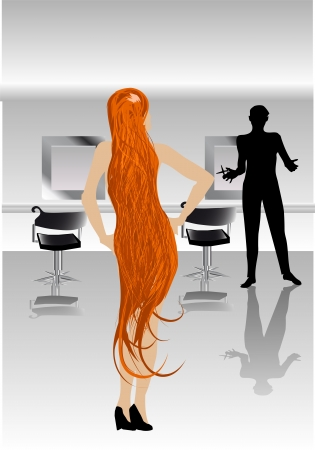 woman with red hair at the hairdresser Vector