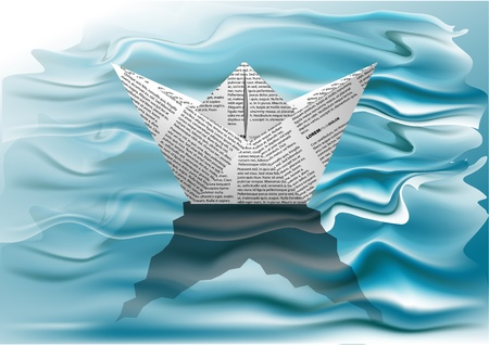 White paper boat in the blue waves