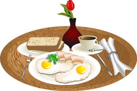scrambled: breakfast tray with the eggs and bacon Illustration