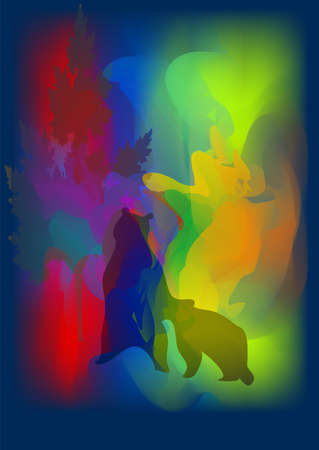 Bear with a cub in the Northern Lights Illustration