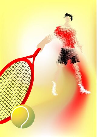 the man with the racket on a tennis court Vector