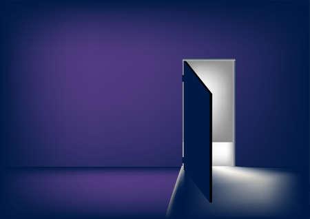 the open door of a dark room into the light Vector
