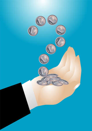 coins in the hand with a question mark Stock Vector - 14586121
