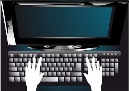 hands on keyboard: abstract background with computer, monitor and hands
