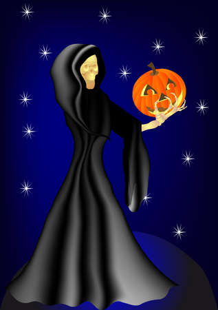 on the occasion of Halloween the skeleton holding a pumpkin Vector