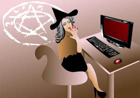 evil girl: Strega del computer pensa di stregoneria