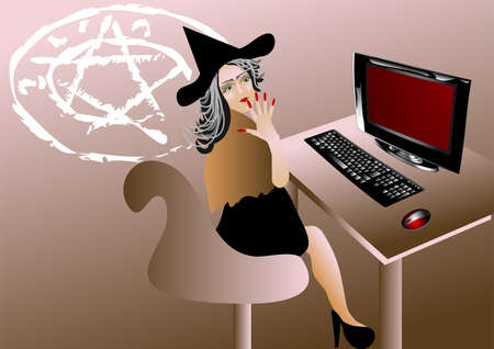 Witch of the computer thinks about witchcraft Illustration