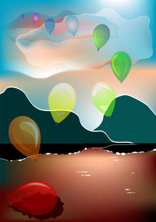 toy balloons rising into the sky from the water