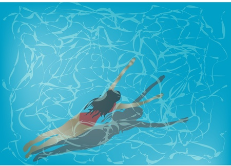 woman is swimming under clear blue water Vector