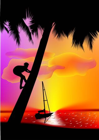 Seascape  Aborigine climbs a palm tree in the background of the sea Stock Vector - 14689557